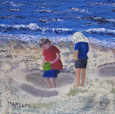 """""""Busy Day at the Beach"""" original oil on gallery canvas, 8 x 8"""" by John Marcum"""