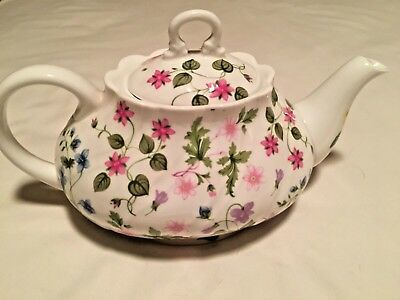 """Queens """"Country Meadow"""" Fine Bone China Oval Teapot"""