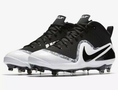 71d1dc06650 Mens Nike Metal Baseball Cleats Force Zoom Trout 4 Black White NIB 14 917837  001