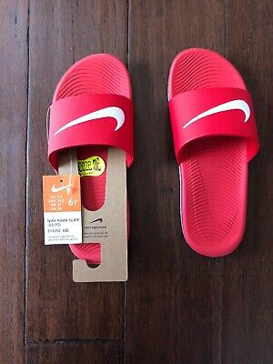 b387d8b5c Nike Kawa Boys Girls Slide Sandals Flip Flop Shoes Size 6 Red White NEW  Youth