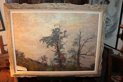"""Listed AC Tomlinson Mid-Century 22"""" x 30"""" Landscape Oil Painting on Board"""