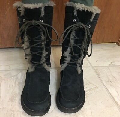 98d8f34ec0f RARE GENTLY USED UGG Tall Appalachian Black Suede Lace Up Boots Women's  Size 5