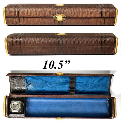 """Antique French Scribe's Box, 10.5"""" Leather Writer's Inkwell & Pen Travel Case"""