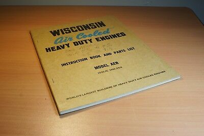 Wisconsin Air Cooled Engine Manual Instruction Book a Parts List AEN