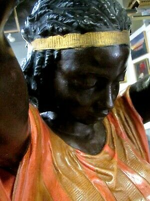 """Fine Pair Antique Nubian 82"""" Tall Torcheres (Polychromed Bronze) Torchiere"""