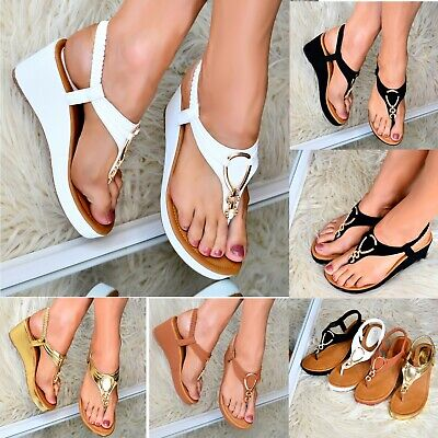 Ladies Womens Low wedge Heel Sandals T-bar Shoes Comfy Toe post Slingback size