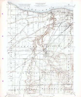 1904 Berea OH USGS 15' Quad Topo Map Rocky River Lakewood Olmsted Strongsville