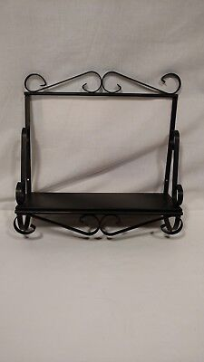 Vintage Black Metal Shelf, Decorative Swirls on Sides, Easy Wall Hanging
