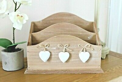 Large Rustic Wooden Letter Rack 3 Hearts 2 Compartments Sass & Belle - Sale!