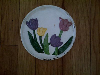"""Vintage Heavy White Green Purple Pink Yellow Tulip Cast Iron Footed Trivet 6"""""""