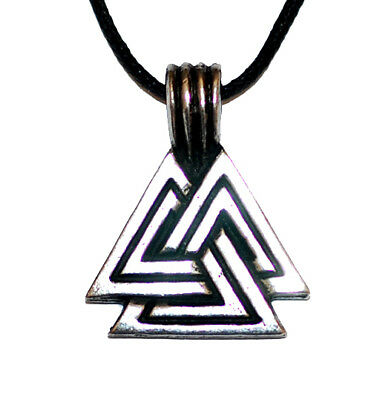 Viking Valknut pendant Pewter on leather thong  ASGARD Scotland