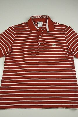 Lacoste Mens Polo Shirt Size S 3 Striped red white Spell Out Crocodile Casual SS