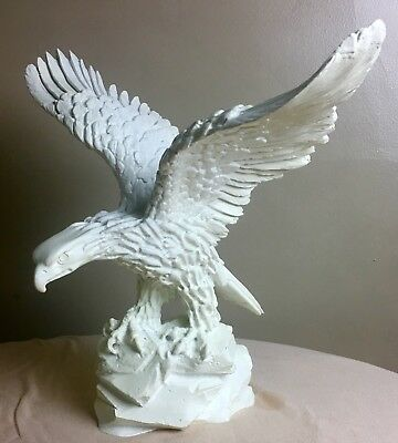 Rare Vintage White Eagle Solid Heavy Ceramic Pottery Porcelain With Great Detail