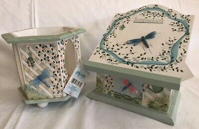 """Kathy Hatch Collection""""Dragonfly"""" Wood Painted Recipe Box & Candle Holder NWT"""