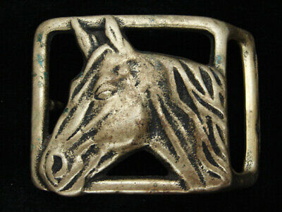 RA09163 VINTAGE 1970s **HORSE** COMMEMORATIVE SOLID BRASS BELT BUCKLE