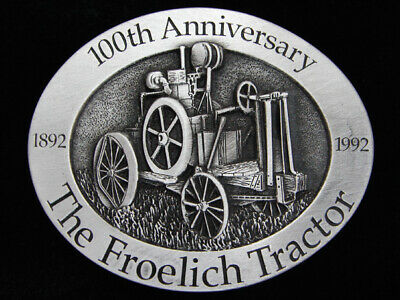 Qe07135 *Nos* Vintage 1992 *The Froelich Tractor 100Th Anniversary* Belt Buckle