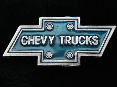QG19111 VINTAGE 1970s **CHEVY TRUCKS** COMPANY PEWTER BELT BUCKLE
