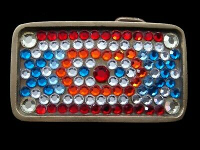 RK11104 VINTAGE 1970s **MULTI-COLOR CRYSTALS** SOLID BRASS BARON BELT BUCKLE
