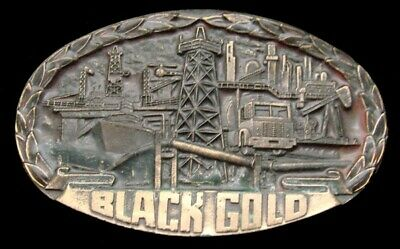 Ra08124 *Nos* Vintage 1982 ***Black Gold*** Oil Derrick Oilfield Refinery Buckle