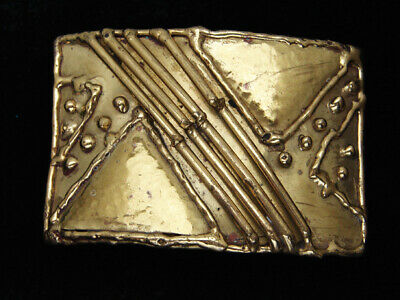 QK03139 VINTAGE 1970s **ABSTRACT SHAPES** ART FASHION SOLID BRASS BELT BUCKLE