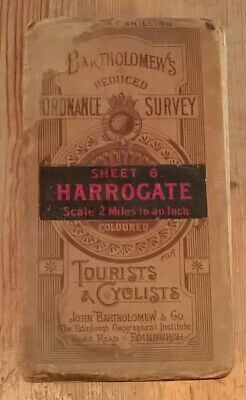 Bartholomew's Ordnance survey Map of Harrogate Tourists & Cyclists 2 miles to 1""