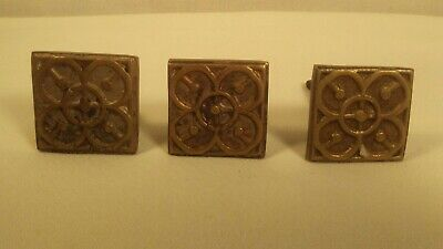 Vtg Lot of 3 HEAVY Brass Square Drawer Pulls Knobs Cabinet Hardware MCM Art Deco