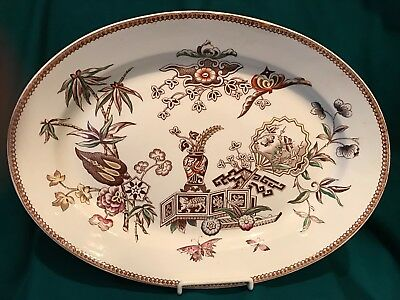 Aesthetic Transferware Platter - Brown & White with Polychrome Highlights