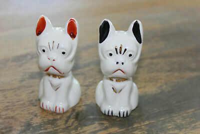 Vintage Japan Grumpy Bull Dogs Ceramic Salt & Pepper Shakers