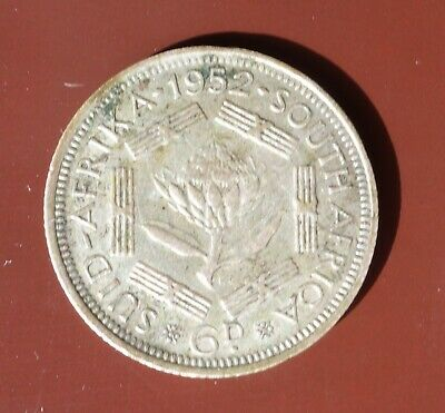 George VI South Africa Silver 6d Sixpence Coin Dated 1952.