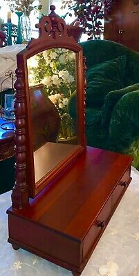 Antique Victorian Dressing Table Top Vanity Tilting Mirror 2 Drawers,Cherry Wood