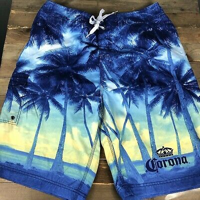 650b597bf3 Corona Extra Men's Long Board Shorts Size 36 Beach Scene Graphic Beer  Cerveza