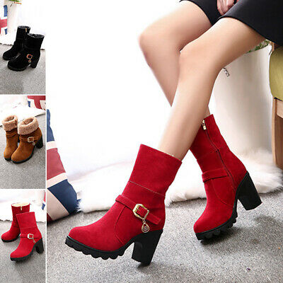 Women Boots Ankle Ladies Shoes Sizes Casual Snow Size Boots Heels Warm Biker