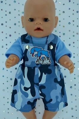 """Play n Wear Doll Clothes To Fit 17"""" Baby Born CAMOUFLAGE BIB DUNGAREE~T-SHIRT"""