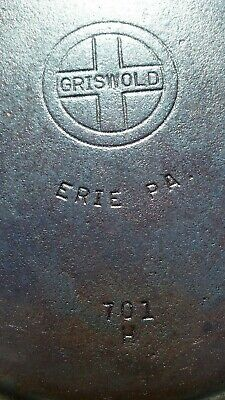 GRISWOLD #7 Cast Iron Skillet 701H  Small Block Logo Erie PA