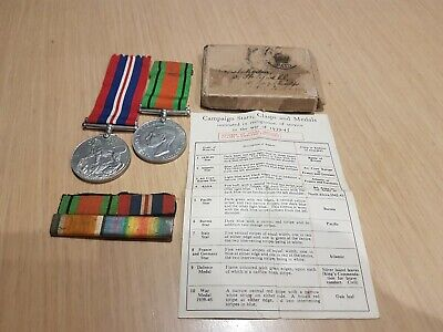 WW2 Medals and Box with Ribbons