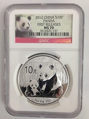 2012 China Panda 1 Oz. Silver Coin NGC MS70 First Releases Red Panda Label #T303