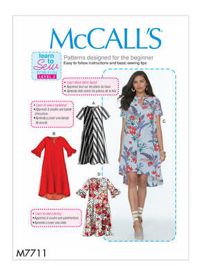 McCall's Sewing Pattern 7711 Misses 4-22 Easy Loose Fitting Dresses Learn to Sew
