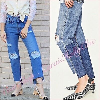 1dcf1622106 Zara Mid Rise Blue Frayed Hem Ribbed Straight Crop Jeans UK 8 US 6 Blogger ❤