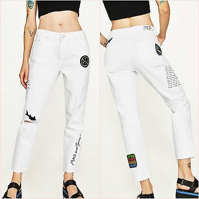 d060c373956 Zara White PATCHES MAUI AND SONS Relaxed Straight Jeans UK 6 US 2 EU34  Blogger ❤