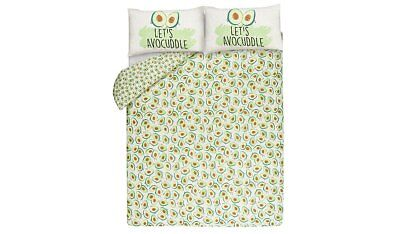 Avocado Print Reversible Duvet Cover Set King Size New