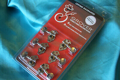 white button Genuine Grover Sta-Tite 9NW Tuners for Ukulele Set 2+2 Nickel