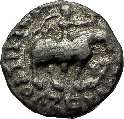 JESUS CHRIST Birth Magii Azes II on Horse 35BC Ancient Silver Greek Coin i75555