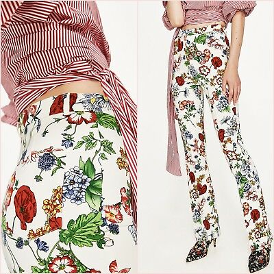 8166010f Zara White Floral Print Slim Mini Flare Trousers Pants 8 10 XS S US 4 6
