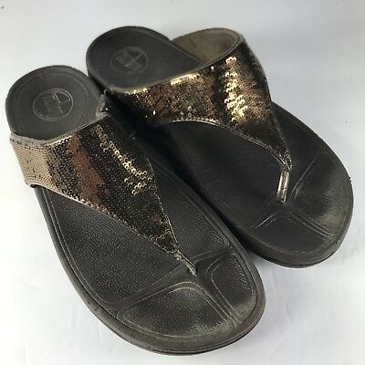 bf139851a FITFLOP Women s Brown Sequin Thong Sandal Toning Sparkle Size 9
