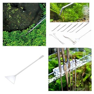 Aquarium Tweezer Scissor Spatula Live Plant Fish Tank Aquascaping Tool with Rack