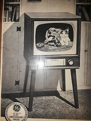 """Rustic Framed """"TV"""" Television Advertisement 1952 GE General Electric Consolette"""