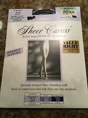 325fbb2ba53 Jcpenney Sheer Caress Silky Extra SUPPORT Pantihose AVG Off Blk Lt  Compression