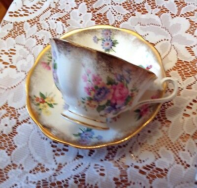 Royal Albert Old English Brush Gold Guild Tea Cup and Saucer Spring Flowers Tea
