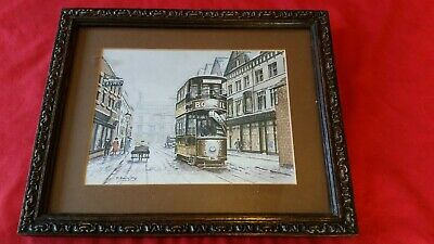 VINTAGE Antique OAK picture frame old HEAVY glass BURTON UPON TRENT CARD PRINT