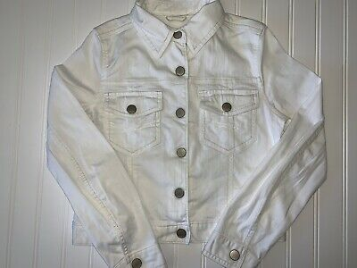 Gap Kids Girls White Jean Denim Jacket Size Large 10